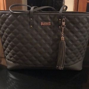 BCBG Paris Quilted Tote bag with gold metal NWOT